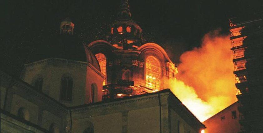 Incendio al Duomo. Cupola del Guarini